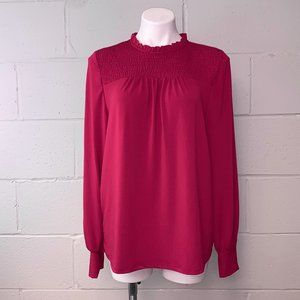Adrianna Papell Maroon Long Sleeve Blouse Top